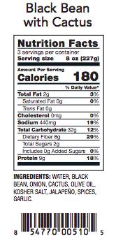 Black Bean with Cactus Nutrition Label