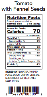 Tomato with Fennel Seeds Nutrition Label